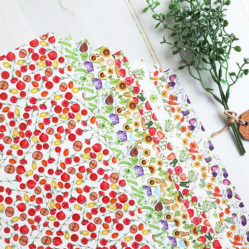 野菜とお花のつぎはぎ☆A4デザインペーパー