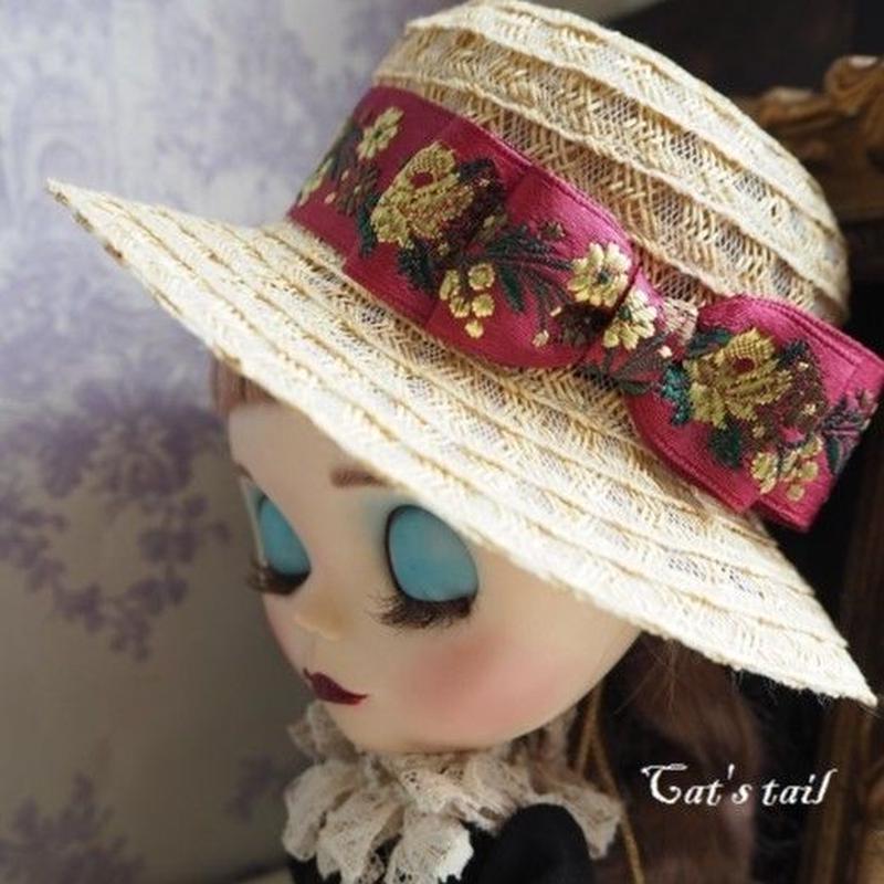 ドールサイズ・刺繍リボンのブレード帽子
