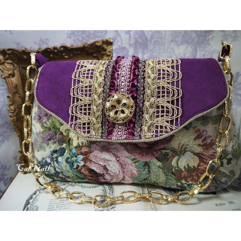 イタリア製ゴブラン&人工皮革のクラシカルバッグ
