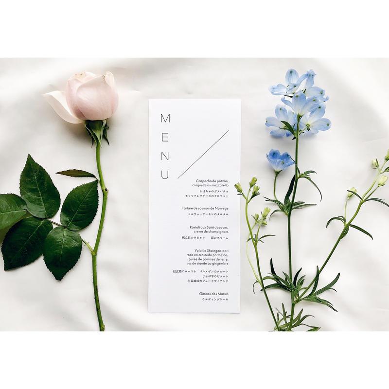 メニュー表|Natural & Garden     Wedding menus | 10枚1セット