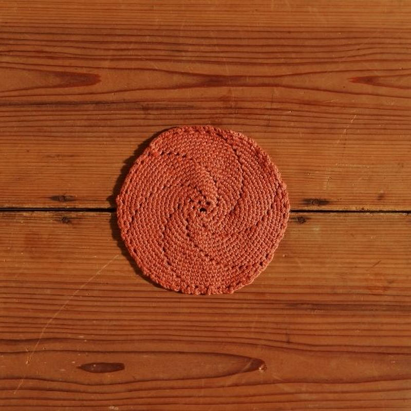 antiques ピンクの丸いかぎ編みコースター