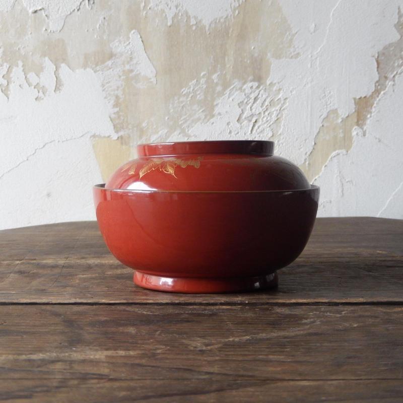 antiques 輪島塗 沈金 蓋付椀