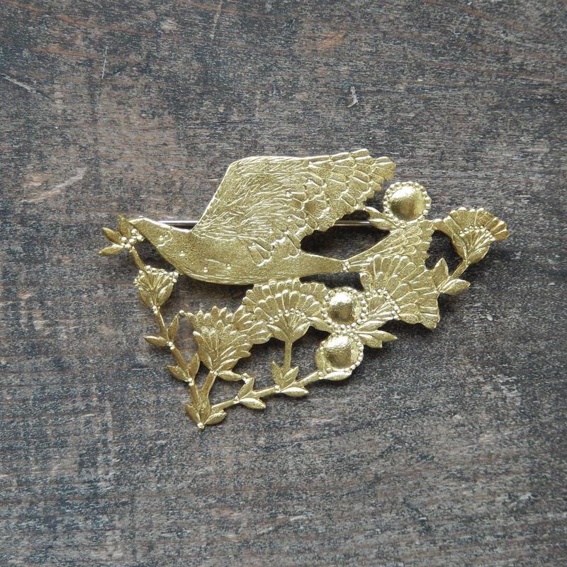 西川美穂 鳥と小枝のブローチ/ 真鍮