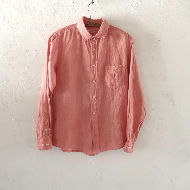 takuroh shirafuji Lithuania Linen Pink basic shirt