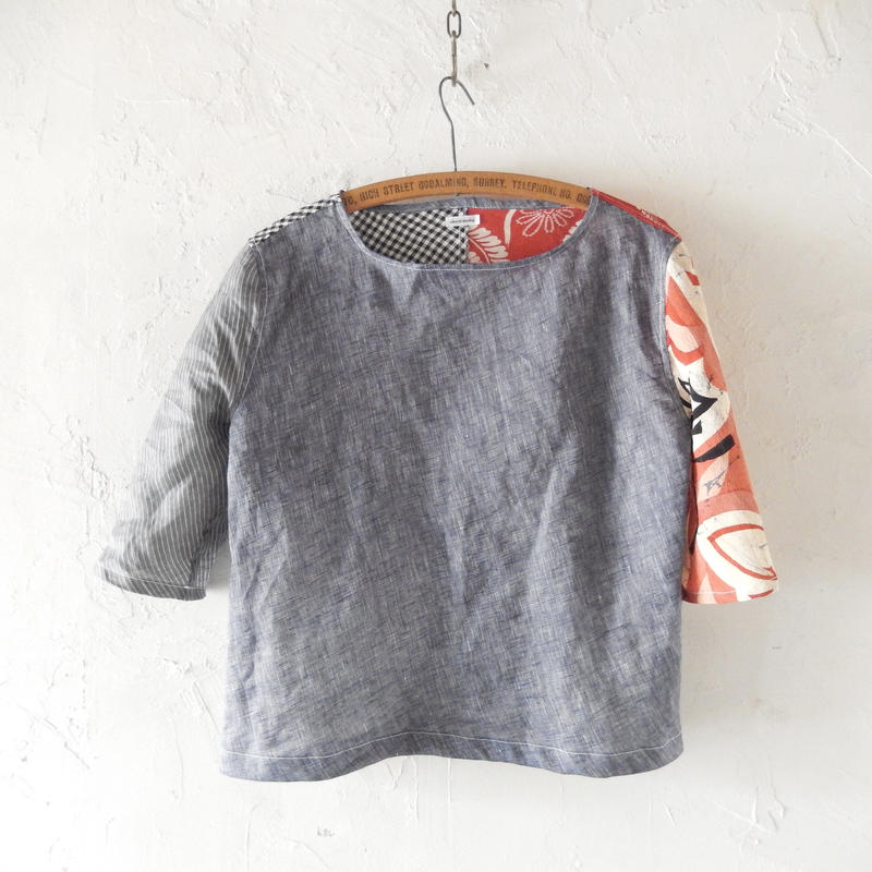 takuroh shirafuji Lithuania Linen Half Sleeve Tops(Boro) three