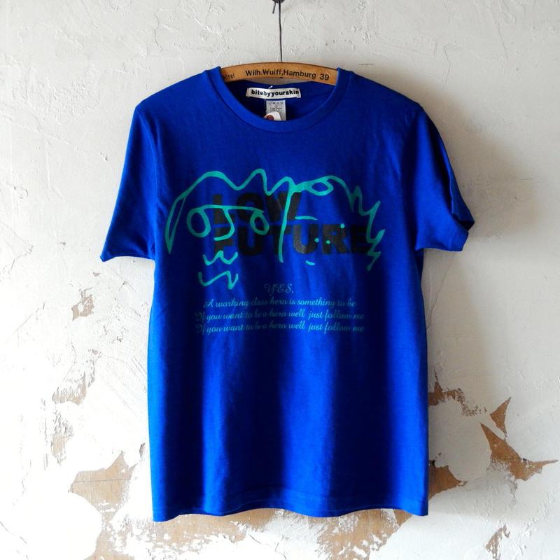 takuroh shirafuji YES,  Remake Blue T-shirts(One off)