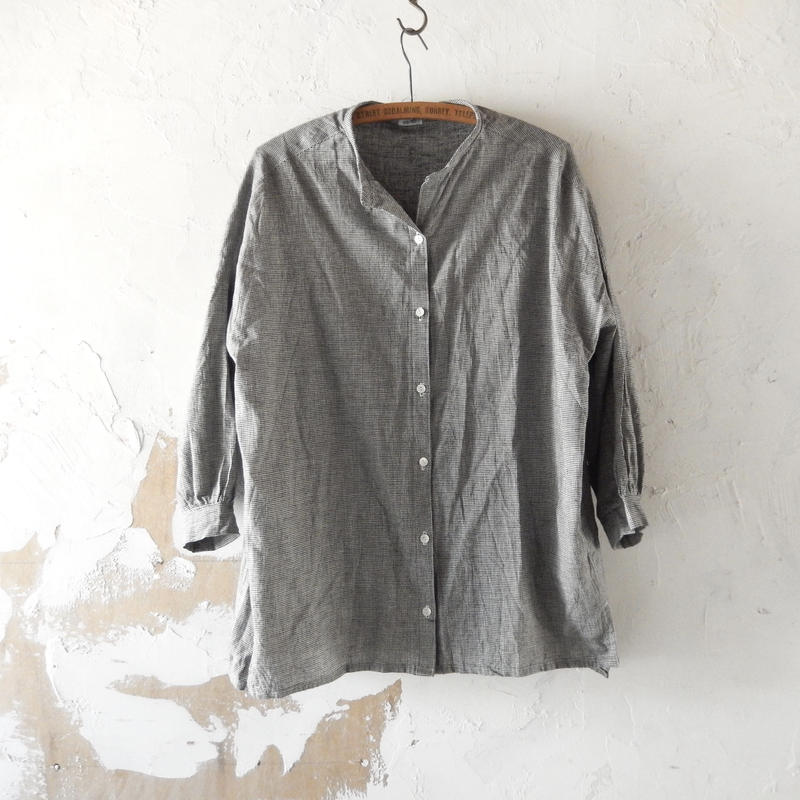 COCOLO Glen Check No Collar Shirt