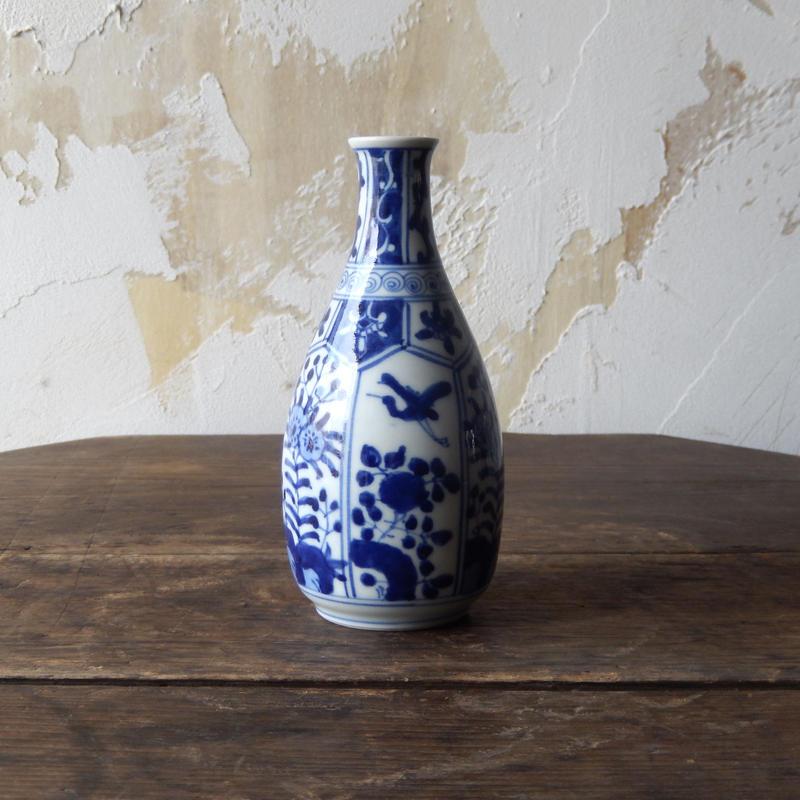 antiques 九谷 染付 徳利