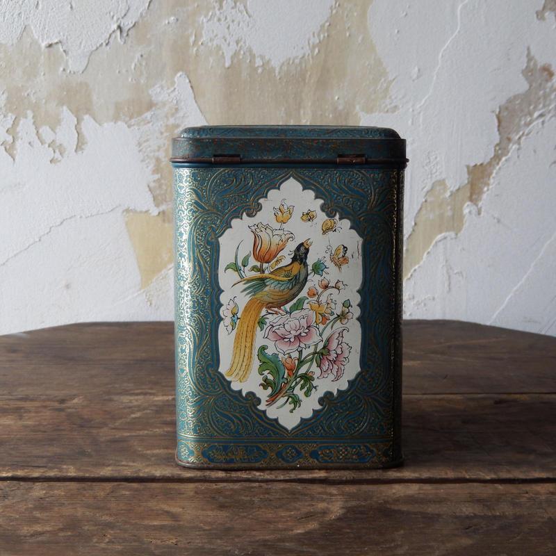 antiques グリーンの鳥のTIN缶 from France