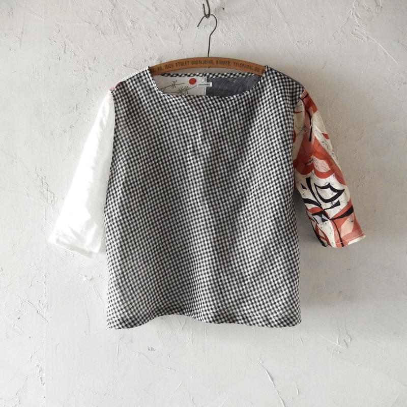 takuroh shirafuji Lithuania Linen Half Sleeve Tops(Boro) one