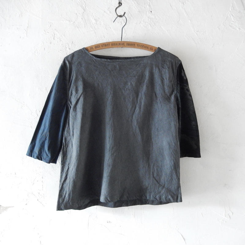 takuroh shirafuji Lithuania Linen Half Sleeve Gray Tops(Boro)