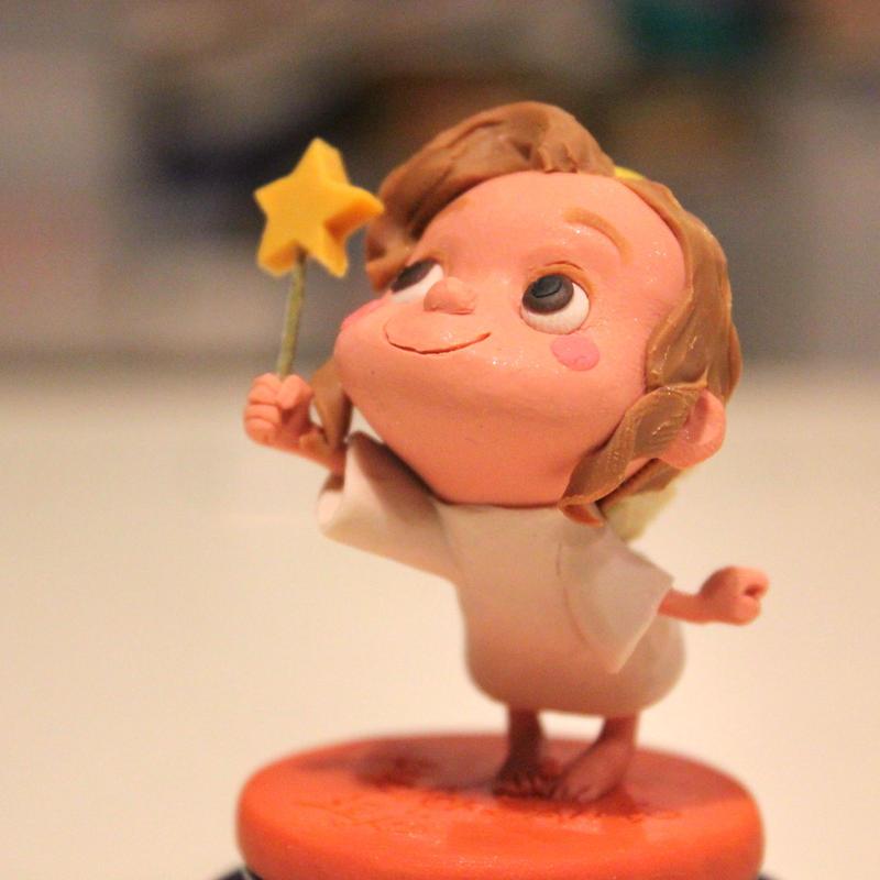 樹脂粘土人形/星タクト天使(台オレンジ)