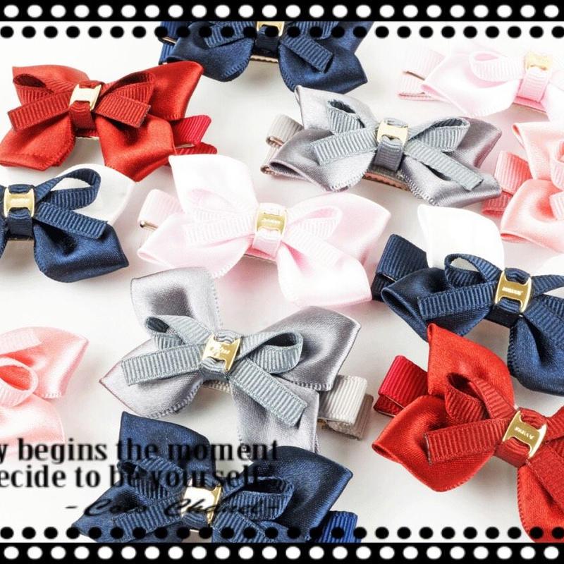 (2本セット)リボン 光沢カラー キッズ ヘアクリップピン ヘアアクセサリー 卒園 入園  卒業式 入学式  フォーマル 結婚式  パーティ
