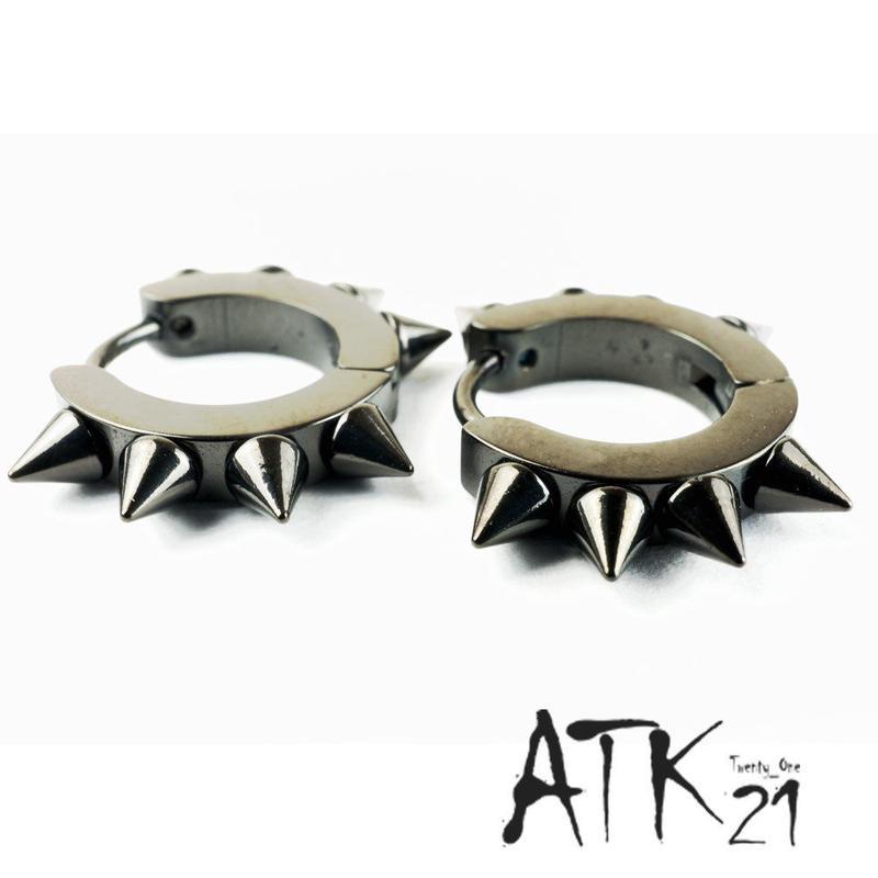 両耳用(2個セット) ブラックスパイク トゲトゲ フープ リング ピアス メンズ レディース ステンレス アクセサリー:MP160204