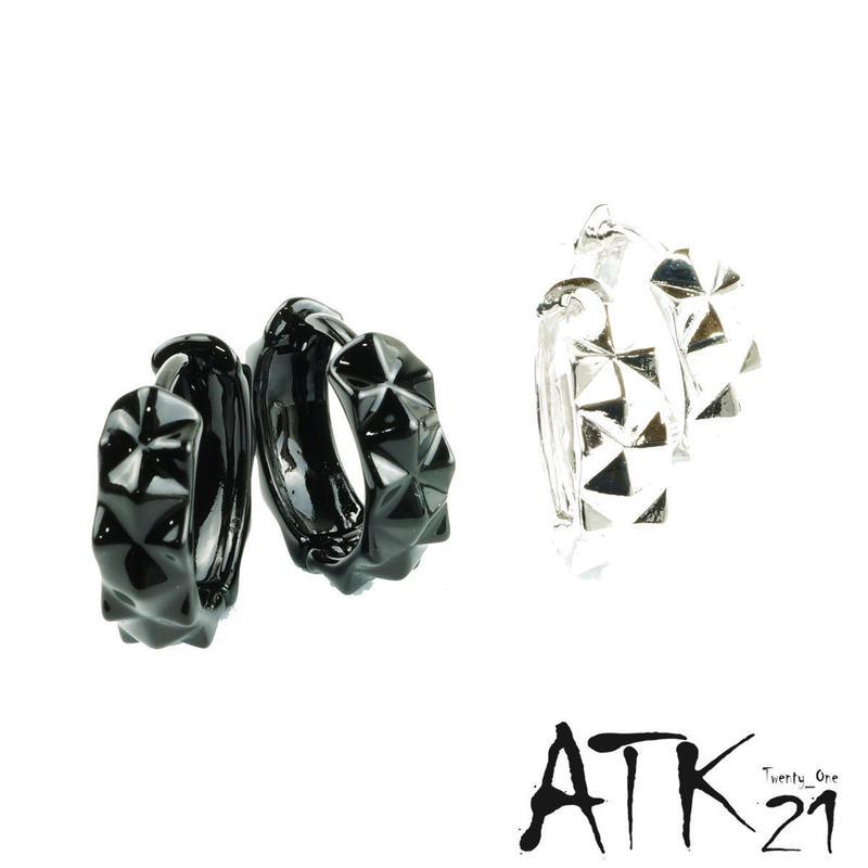両耳用(Sサイズ2点セット)ダイヤモンドカッティング フープピアス シンプル ブラック シルバー メンズ レディース ユニセックス アクセサリー:HPB170801S