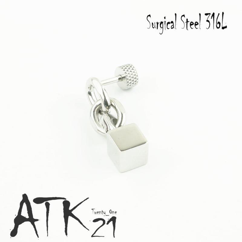 片耳用(1個売り)チェーン スクエアキューブ 16G ステンレスピアス Surgical Steel 316L 軟骨 ボディピアス メンズ レディース ユニセックス アクセサリー:MPS171002