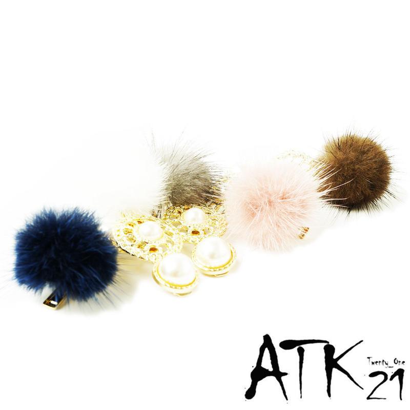 ファー アンティーク ゴールド 透かし サークル パール  かわいい 髪留め 前髪 ダッカール ヘアクリップ 簡単ヘアアレンジ レディース ヘアアクセサリー:HD180901