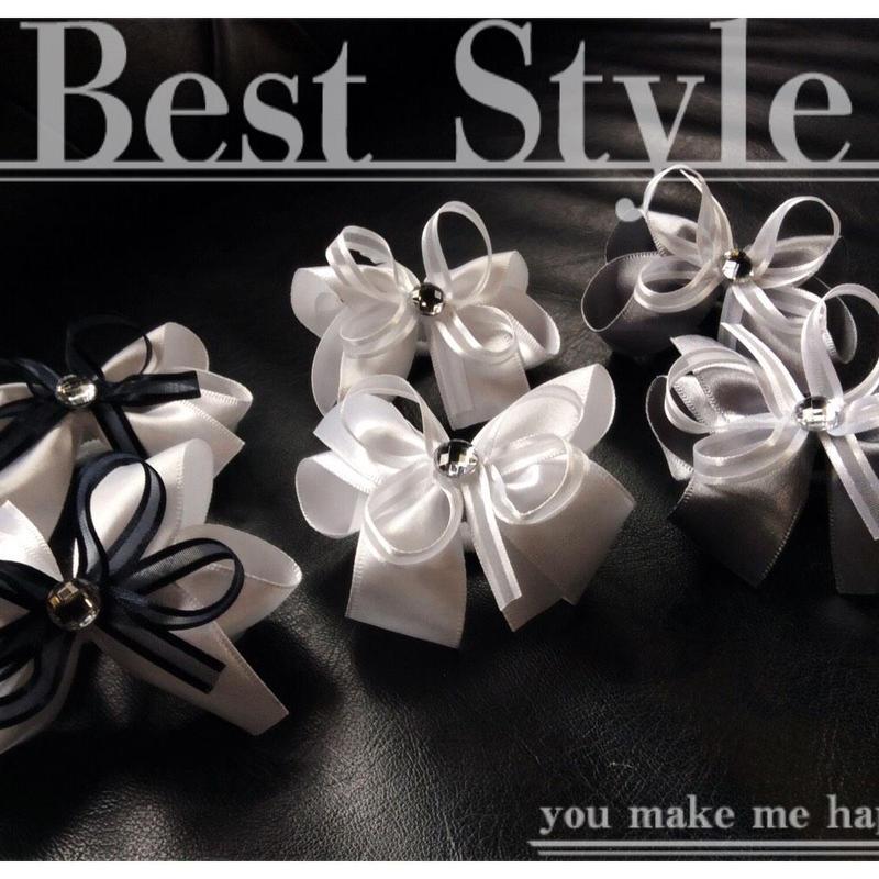 (2個セット) リボン ストーン ヘアゴム ツインテール キッズ アクセサリー 卒業式 入学式 発表会 七五三 結婚式  パーティ レディース ヘアアクセサリー