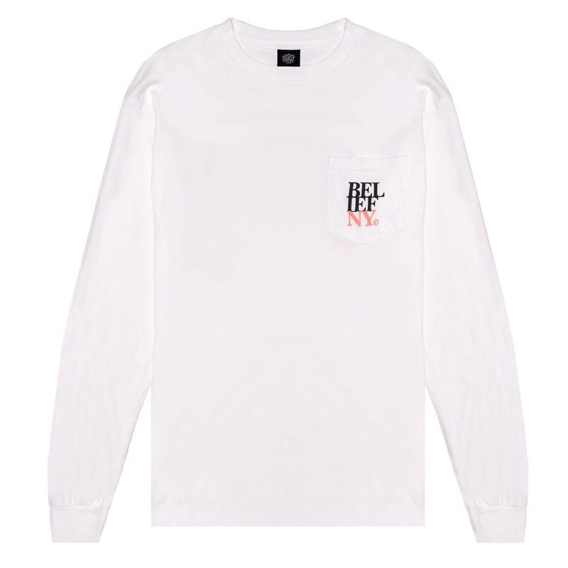 Belief Stacked L/S Pocket Tee (White)