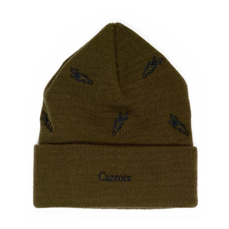 Carrots By Anwar Carrots ALL OVER CARROT BEANIE (BLACK, OLIVE)