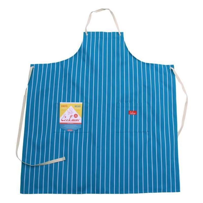 Cookman Long Apron (Stripe Light Blue)