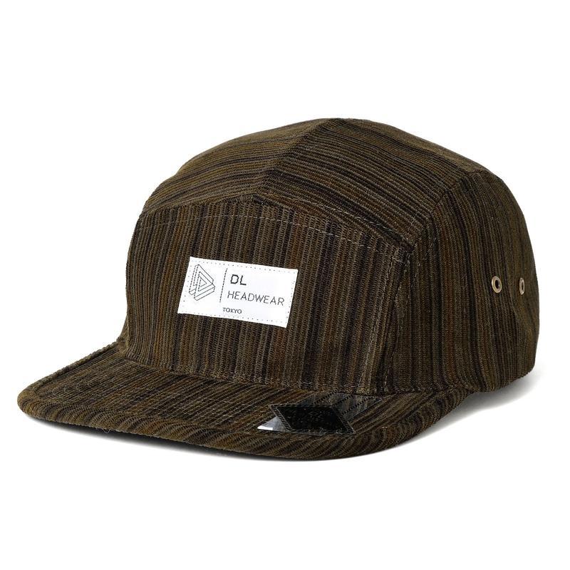 DL Headwear Omega 5Panel Camp Cap (khaki stripe cord)