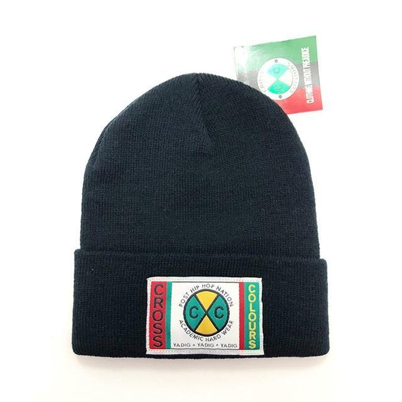 CROSS COLOURS CLASSIC WOVEN LABEL BEANIE (BLACK)