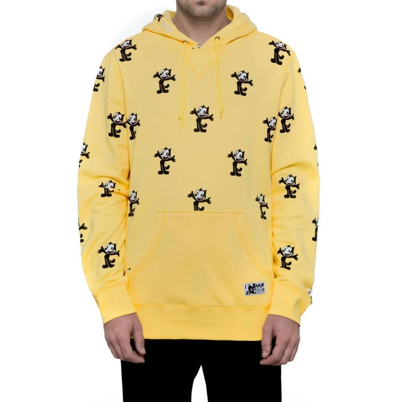 HUF × FELIX ALLOVER PRINT PULLOVER HOODIE (BANANA,  RED)