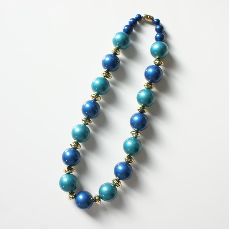 AVONエイボン ブルー グリーン ルーサイト ネックレス 箱BOX付き / ヴィンテージ・コスチュームジュエリー