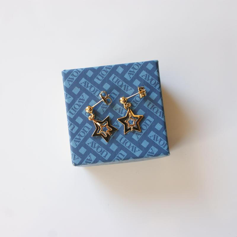 Special price【スペシャル プライス】AVONエイボン ダブル スター 星 ピアス 箱BOX付き/ ヴィンテージジュエリー・アクセサリー