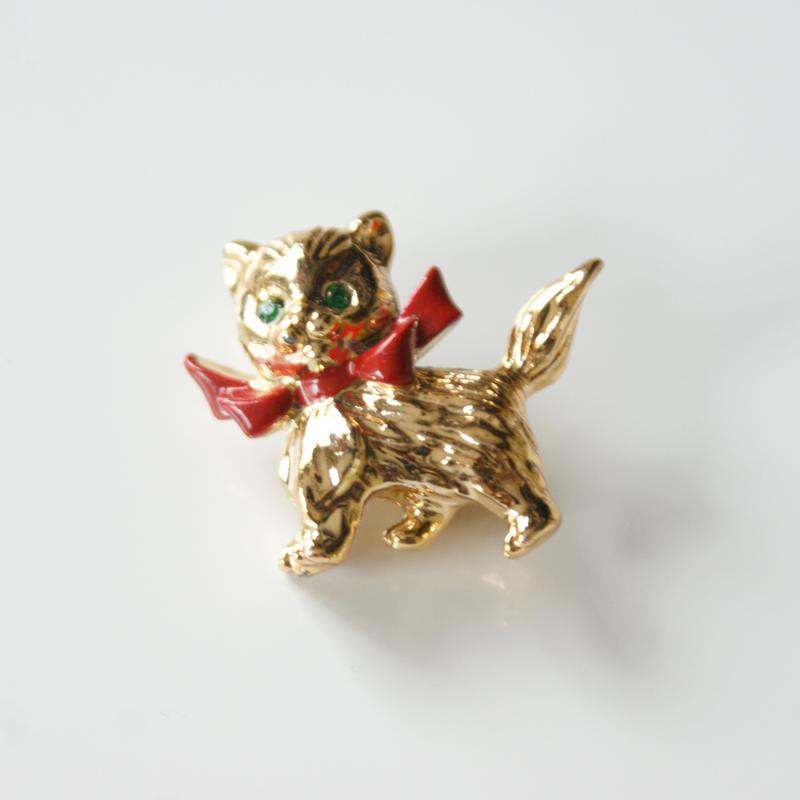 Special price【スペシャル プライス】猫 キャット レッド リボン ブローチ / ヴィンテージ・コスチュームジュエリー