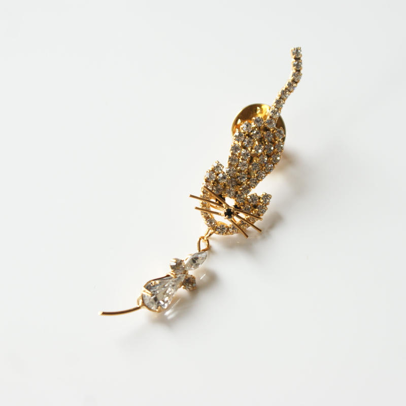 ラインストーン キャット 猫 ネズミ ピンブローチ / ヴィンテージ・コスチュームジュエリー
