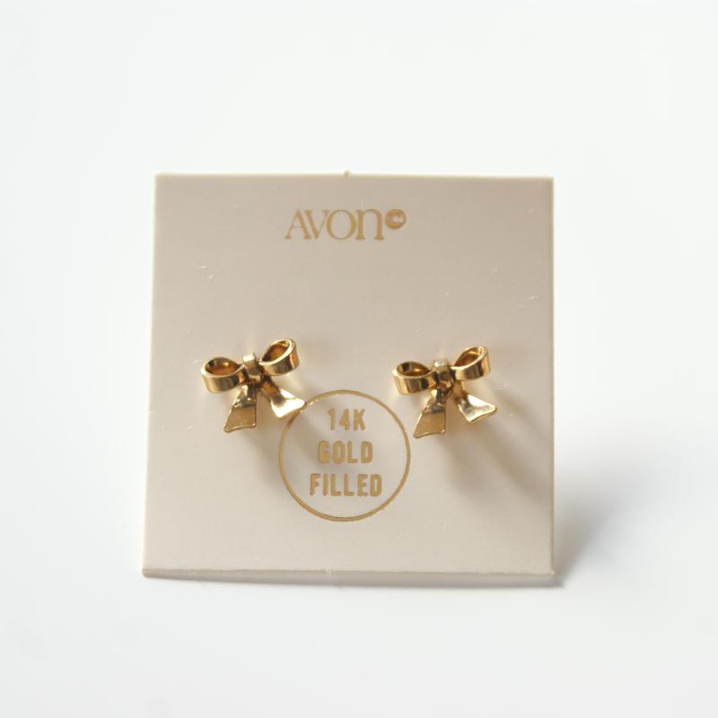 Special price【スペシャルプライス】AVONエイボン ゴールドフィールド リボン ミニピアス 箱BOX付き/ ヴィンテージジュエリー・アクセサリー