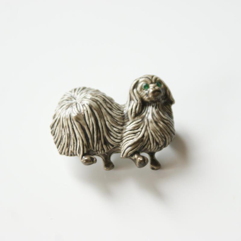 Special price【スペシャル プライス】GERRY'Sゲーリーズ シーズー ペキニーズ犬 グレーエナメル ブローチ / ヴィンテージ・コスチュームジュエリー