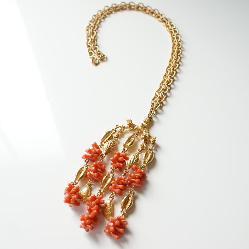 TRIFARIトリファリ コーラル 珊瑚 シェル 貝 モチーフ ラインストーンネックレス / ヴィンテージ・コスチュームジュエリー