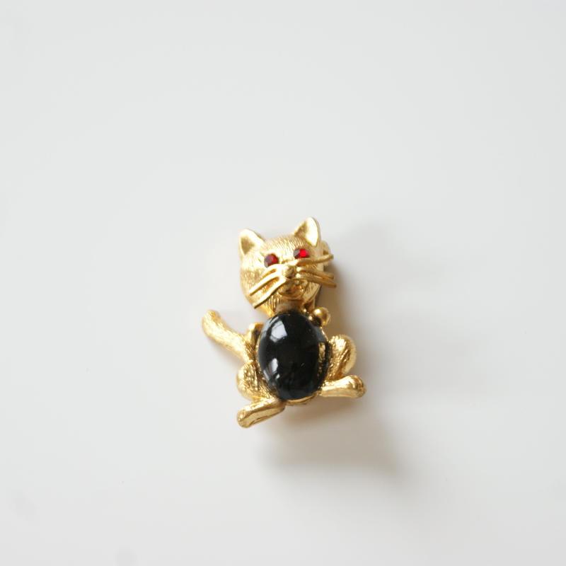 ドイツ製 ブラック カボション ガラス キャット 猫 ブローチ / ヴィンテージ・コスチュームジュエリー