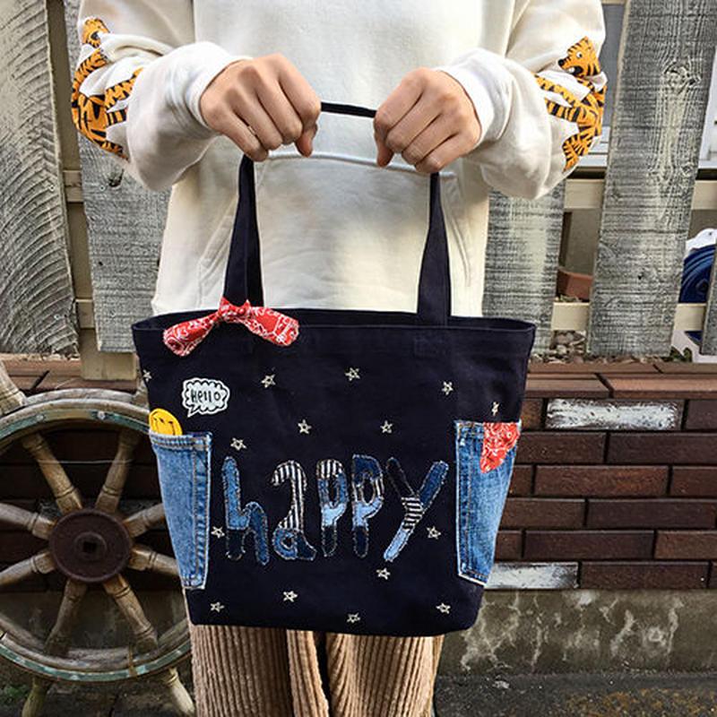 happyMサイズトート(ネイビー)