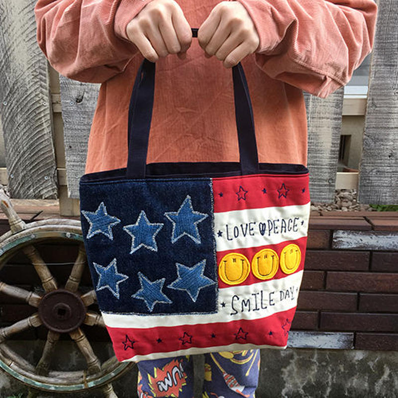 アメリカンボーダー刺繍スマイルMサイズトート
