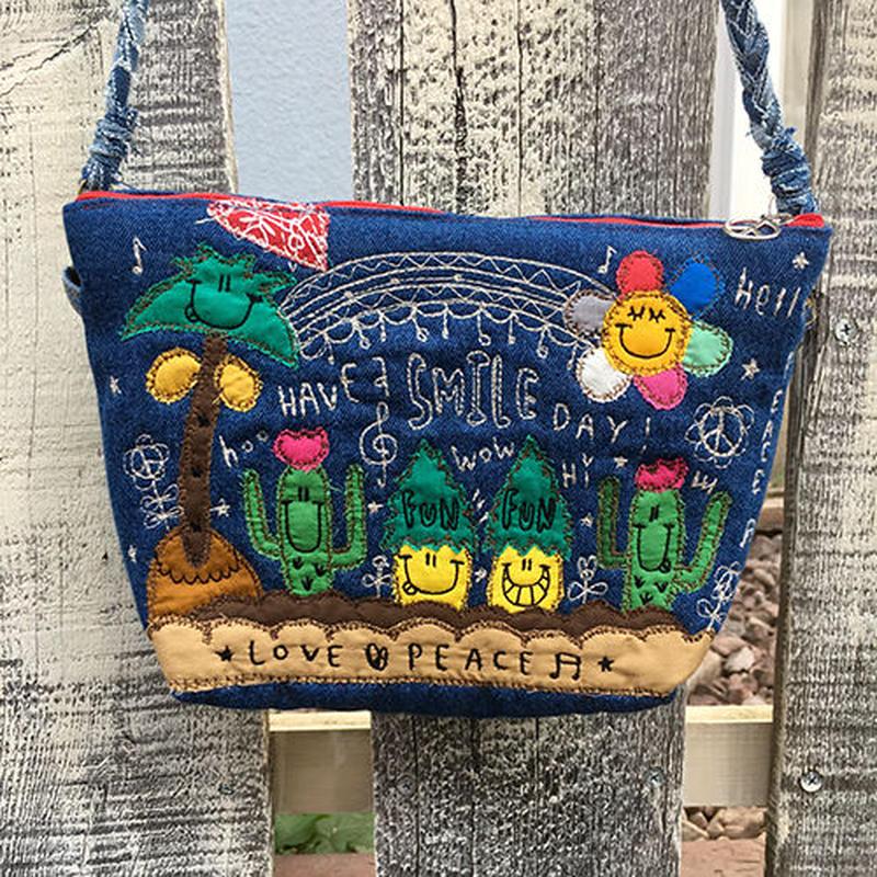 パイナップル&サボテン布帛刺繍デニムショルダー