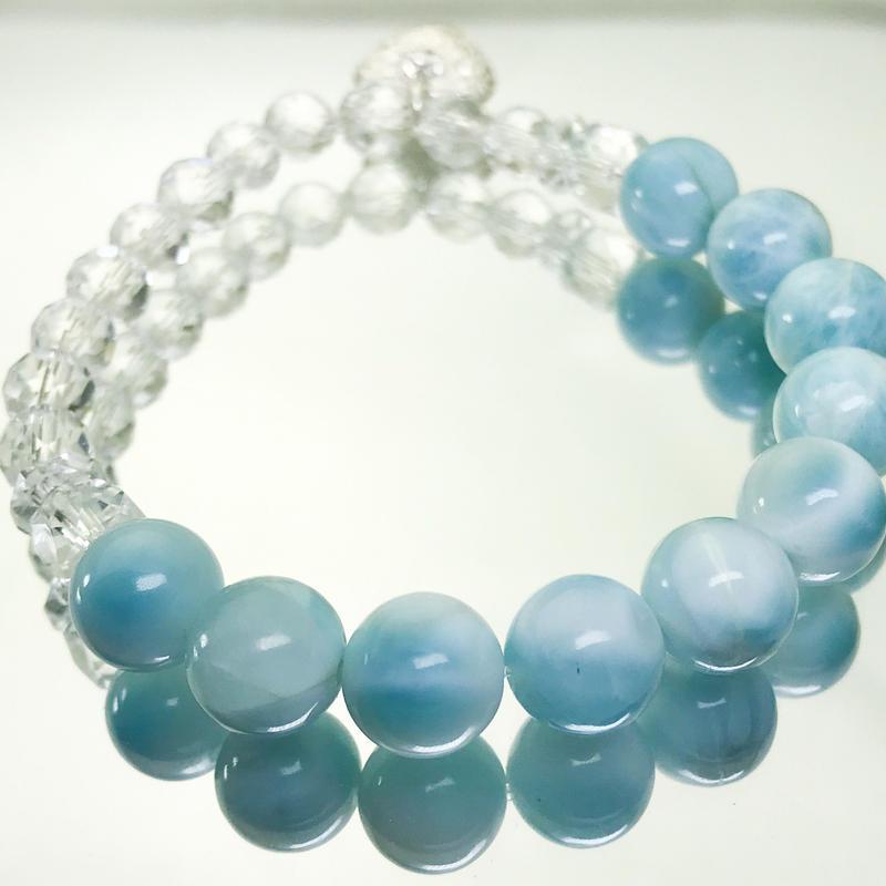 【上弦の月ブレスシリーズ】ラリマーと高品質カット水晶