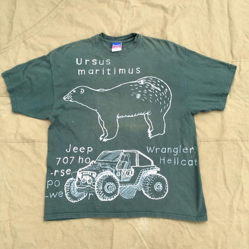 【on champion】OMA overdrawing   Tシャツ   38 (2TOP line)「ジープとシロクマ|Jeeps & White bears」