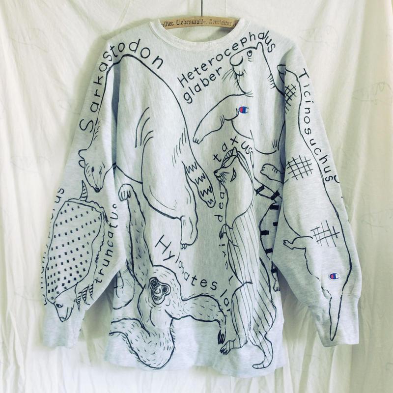 【on champion】OMA overdrawing sweatshirt 29 〈satisfaction〉猿のいる動物アソート|animal assort with monkey