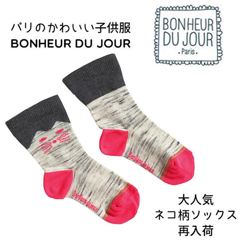 BONHEUR DU JOUR ネコ柄入りソックス(16051)