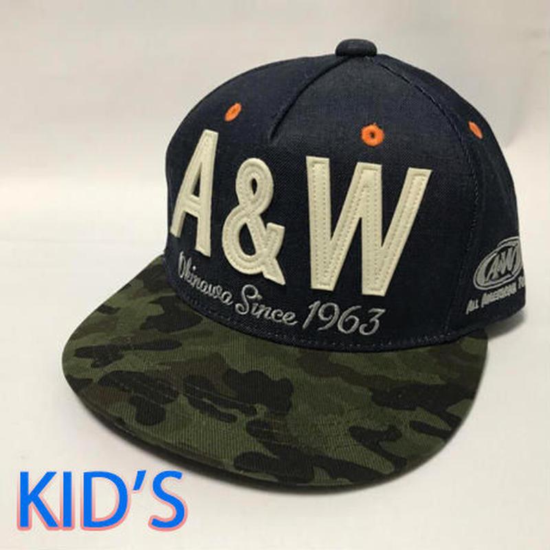 A&W文字フラットキャップ:カモフラ柄(Kids)