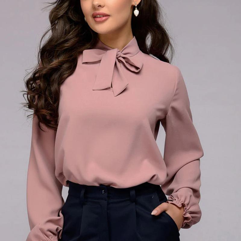 ネックリボン  ブラウス  シャツ  シフォン   無地   おしゃれ   入学式    オフィスコーデ 大人コーデ   レディスファッション  通勤 フォーマル  大きいサイズ    ピンク  紫