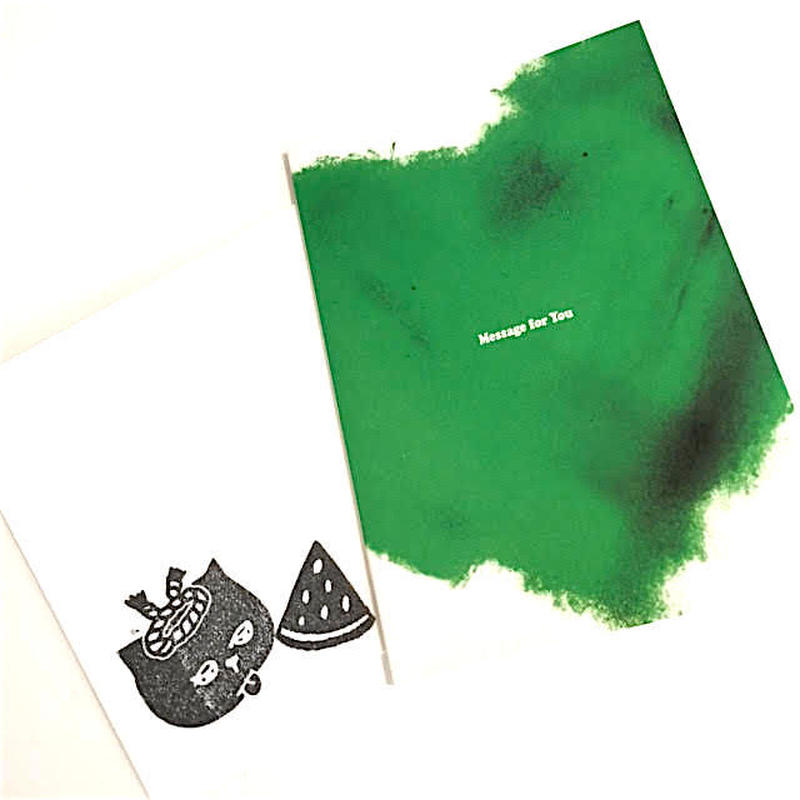 【Mr.PINK】CAT MESSAGE CARD(Green Hert)/ メッセージカード(グリーンハート)
