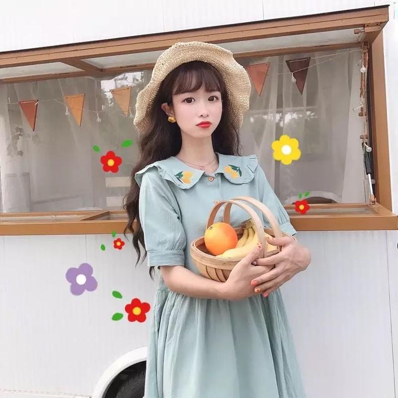 オレンジ刺繍🍊ワンピース