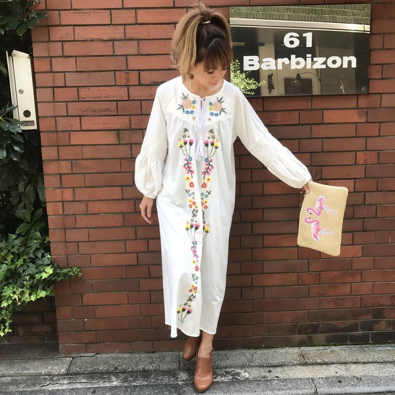 【¥6,190→¥3,000】ぷっくり袖刺繍BOHEマキシワンピ
