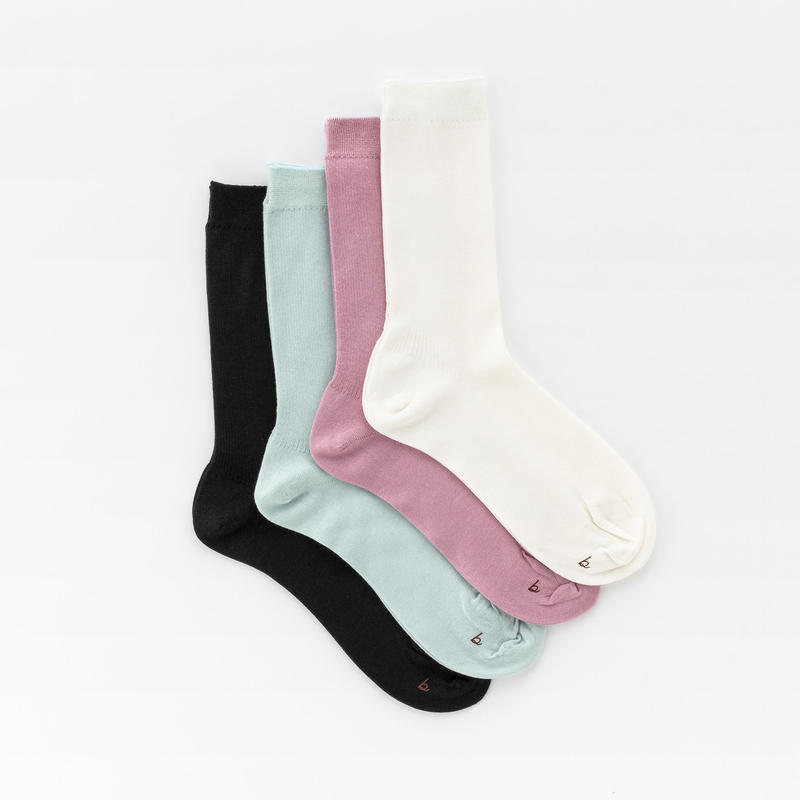 silk and cotton basic ribbed socks
