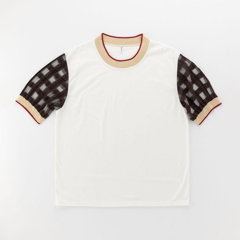 transparent check sleeve T-shirt